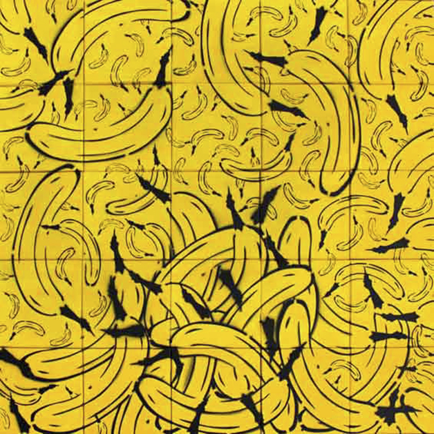 Bananen, 2010, Spraylack und Acryl auf Leinwand, 25-teilig, jeweils 20 × 20 cm © Th. Baumgärtel