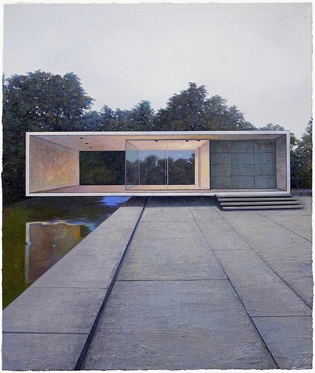 Pavillon / November, 130 x 105 cm, Öl / Leinwand 2018 © Jens Hausmann