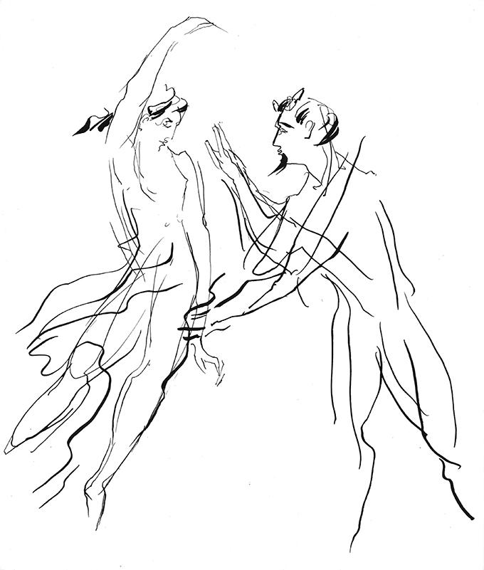 Faun und Nymphe, 1959Tuche auf Karton23 x 19,5 cm © M. Heiner