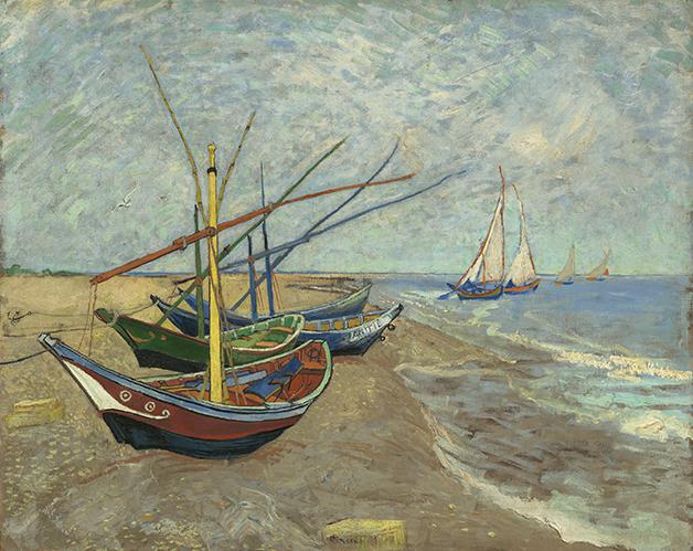 Vincent van Gogh (1853–1890)Segelboote am Strand von Les Saintes-Maries-de-la-Mer, 1888, Öl auf Leinwand, 65 x 81,5 cm © Van Gogh Museum, Amsterdam (Vincent van Gogh Foundation)