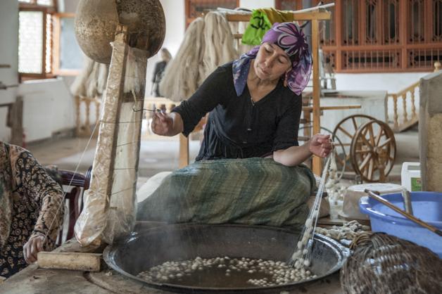 Seidenspinnerin in Hotan