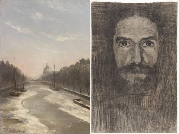 Piet Mondriaan, Der Singel 1893 + Selbstporträt 1908 © Gemeindemuseum Den Haag